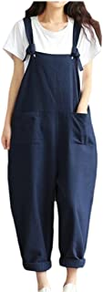 chenshiba-AU Women Baggy Linen Overalls Casual Wide Leg Pants Jumpsuit Haren Pants