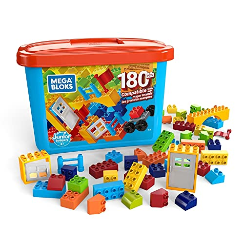 Mega Bloks Caja de 180 bloques de construcción, juguetes niños +2 años (Mattel GJD22)