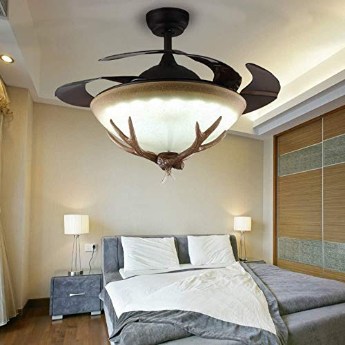 "Lighting Groups 42"" Invisible Reversible Ceiling Fan with LED Lights & Remote, 4 Retractable Blades Fan Chandeliers for Livingroom, Indoor Industrial Retro Antlers Ceiling Light Kits with Fans(Black)"