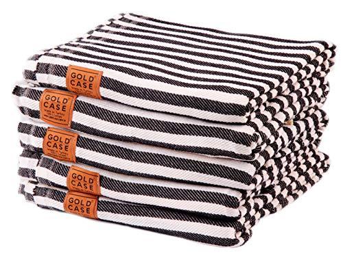 GOLD CASE - Set of 5 XXL 70x39 Inches - Original Smyrna Turkish Bath Towel - 100% Natural Cotton Extra Soft, Quick Dry Vintage Pestemal for Bath, Beach, Gym, SPA, Pool, Picnic, Yacht, Throw (Black)