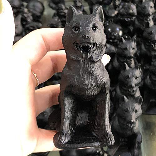 HSIOVE Natürliche Obsidian Quartz Wolf Hand geschnitzt Kristall poliert Quarz Steine Edelsteine für Hauptdekorationen