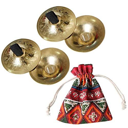 Minibecken Fingerzimbeln Musikinstrument mit Aufbewahrungstasche, 2 Paar (Gold)