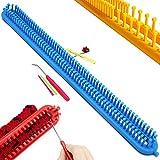 Katech - Kit de punto rectangular de 58 cm, multifuncional, largo profesional de tejer de plástico y 3 piezas, herramientas de tejer, bricolaje, tejer, máquina de tejer para principiantes.