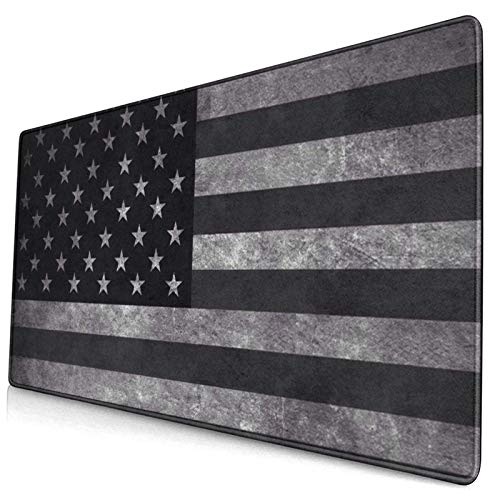 Black USA American Flag Personalized Custom Gaming Mouse Pad,Big Keyboard Pad with Stitched Edges 15.8 X 29.5 Inch Non-Slip Rubber Base Office & Home Large Mousepad Desk Mat