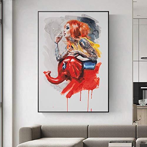 Blanriguelo Moderno Graffiti Girl Red Elephant Mecedora Arte de la Pared Pinturas en Lienzo...