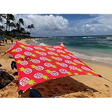 Neso Tents Beach Tent with Sand Anchor, Portable Canopy Sun Shelter, 7 x 7ft - Patented Reinforced Corners (Pineapples)