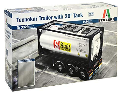 Italeri 3929 Tecnokar Trailer With 20' Tank Model Kit rimorchio camion plastica Scala 1:24