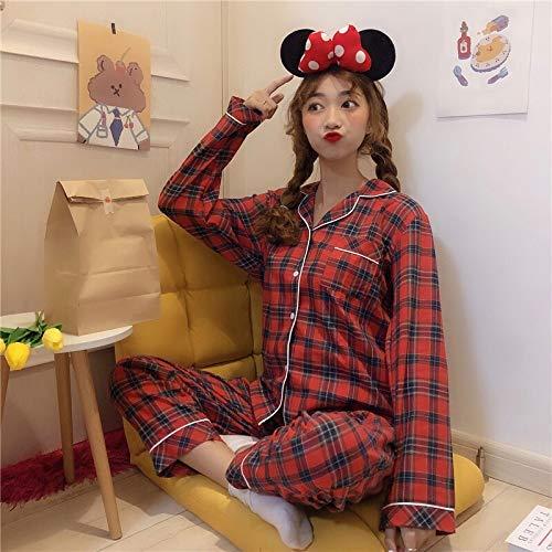 Pijama de invierno Pijamas for mujer pijama de dormir tela escocesa Conjunto de pijama de algodón mujeres pijama de invierno de las mujeres suelta Pijamas Las mujeres de manga larga a cuadros ropa de
