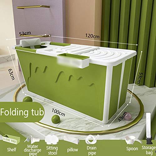 LSJTY Badkuip voor volwassenen, beweegbaar, met volwassene douchestoel inklapbaar badkuip, babyzwemmen, badhuishouden, grote opvouwbare wand douchebak