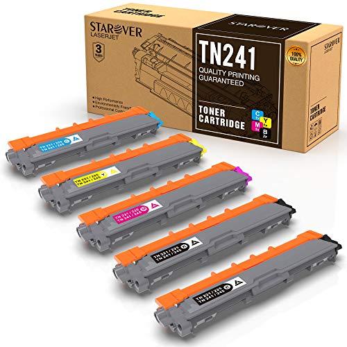 STAROVER Cartouche de Toner Compatible Remplacement pour Brother TN241 TN245 pour DCP-9020CDW DCP-9015CDW HL-3140CW HL-3150CDW HL-3170CDW MFC-9140CDN MFC-9130CW MFC-9330CDW MFC-9340CDW (5 Paquets)
