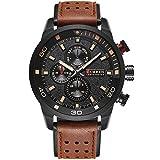 ALCADAN Men's Sports Waterproof Leather Strap Wrist Watch 8250 Brown Black
