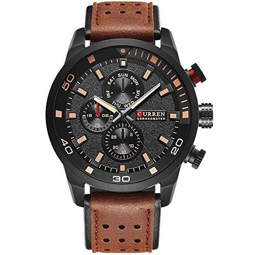 ALCADAN Mens Sports Waterproof Leather Strap Wrist Watch 8250 Brown Black