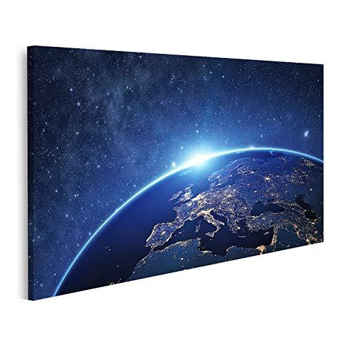 Cuadro en lienzo El planeta Tierra desde el espacio nocturno algunos elementos...