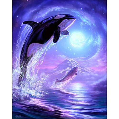 wtnhz Paisaje de Delfines en Punto de Cruz Bordado Mural Amor Regalo Sin Marco