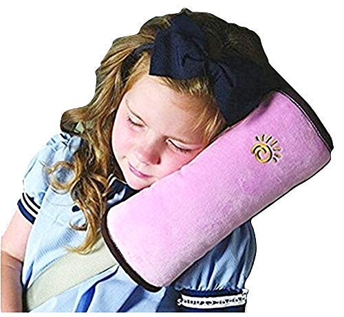 Cuscino cintura per sicurezza - Bambini - supporto collo - poggiatesta morbido - viaggi - aereo - bus - auto - treno - colore rosa - Idea regalo per natale e compleanno