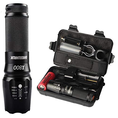 Shadowhawk X800 LED Taschenlampe, Super Helle 4000 Lumen CREE Taschenlampen, 5 Licht Modi, Wiederaufladbare Taschenlampe mit Zoom für Camping, Wandern und Notfälle (Inklusive 26650 Batterie)