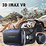 VR Headset, 3D Viewing Glasses for 3D Audio & Video, Movie & Game Display Cell Phone VR Headset with Headphones Compatible for iOS iPhone X 8 7 6S 6 Plus, Android Samsung Galaxy S9 S8 S7 S6 Edge etc