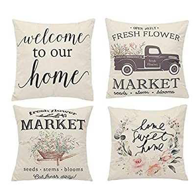 Set of 4 Spring Pillow Covers,Farmhouse Floral ...