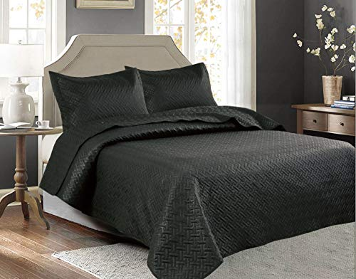 Legacy Decor 3 PCSSquared Stitched Pinsonic Reversible Lightweight All Season Bedspread Quilt Coverlet Oversized, Queen Size, Black Color