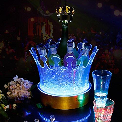 XINYE Champagne Vin Seau à Glace Couronne Forme avec LED Coloré Incandescent Acrylique pour Bar et Parti, D27*H27 cm