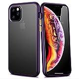 iPhone 11 Case,WATACHE Hybrid Clear Crystal Soft TPU Bumper Hard PC Matte Back Plate Slim Fit Protective Case for Apple iPhone 11,Matte Purple