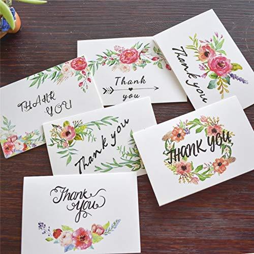 VIOYO Tarjetas de Regalo Tarjetas de Agradecimiento Florales con Pegatinas de Sobres Invitaciones Personalizadas Tarjetas de Notas Tarjetas de felicitación Interiores en Blanco Tarjetas Postales