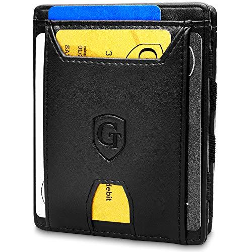 Pacific - Smarte Geldbörse - TÜV geprüft - Magic Wallet - Magischer Geldbeutel mit großem Münzfach - Inkl. Geschenkbox - Smart Wallet - Portemonnaie Herren Damen (schwarz - glatt)