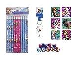 Disney Frozen Elsa, Anna and Olaf Combo - Stamps, Pencils, llavero y pegatina