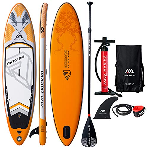 """Aqua Marina Magma Inflatable Stand Up Paddle Board 10'10"""" (6"""" Thick)   Includes Double Action Pump, Magic Backpack, Slide-in Center Fin, Sports III Paddle, Safety Leash"""