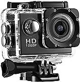 HAO KEAI Videocámara Cámara de Video Cámara de acción, 1080p 2 Pulgadas LCD Pantalla, Lente de Gran Angular de 170 Grados a Prueba de Agua, cámara Deportiva de 30 m DV Videocámara (Color : Negro)