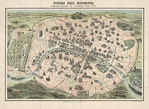 Old Maps Library - Mapa de reproducción vintage de París 1878, parte trasera de lino, mapa plegado, 61x84