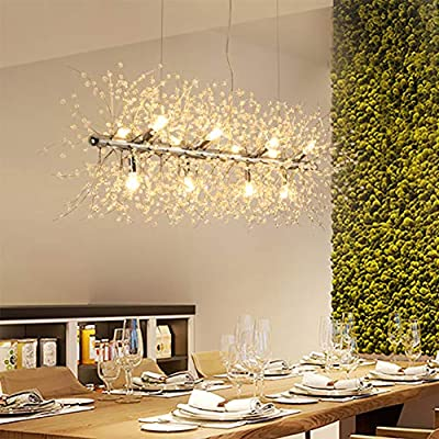 "LED Crystal Chandeliers Firework Hanging Ceiling Light Fixture Modern Pendant Lighting for Store Foyer Dining Room Bathroom Bedroom LivingRoom Restaurant Porch L35.4"" (Silver)"