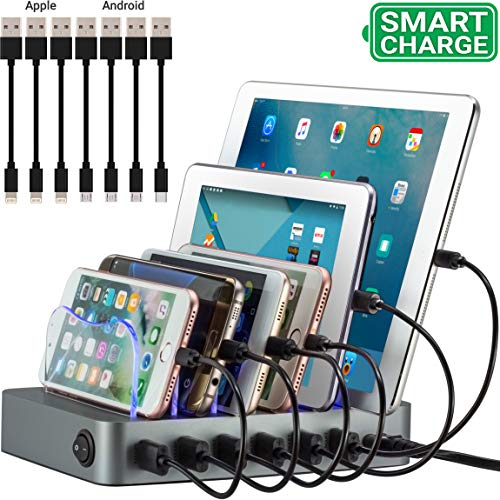 Simicore Smart Charging Station Dock & Organizer for Smartphones, Tablets & Other Gadgets - 6-Port Multiple USB Charger Station & Phone Docking Station with Charging Status Indicator (Space Gray)