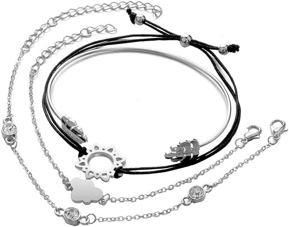 Gsdviyh36 4Pcs Women Jewelry Gift Leafs Rhinestone Inlaid Cuff Bangle Bracelet, Summer Beach Costume Jewelry, Ideal Clothing Accessories