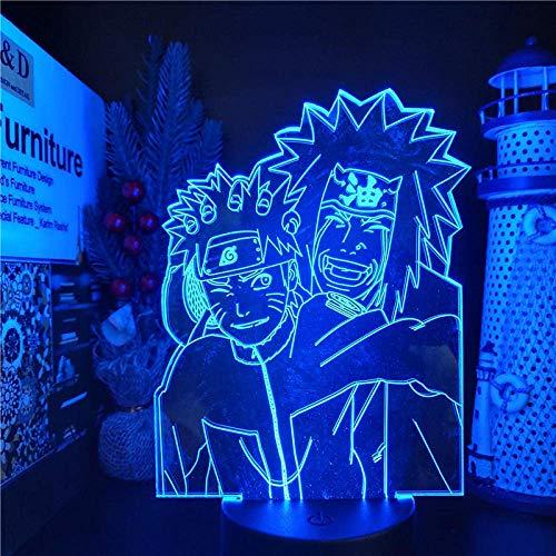 Lámpara de ilusión 3D Luz de noche Led El Anime Naruto Uzumaki Naruto Jiraiya Lámpara de mesa decorativa creativa es perfecta para el dormitorio