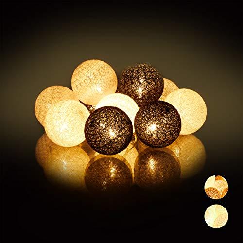 Relaxdays, weiß-grau-schwarz LED Lichterkette mit 10 Baumwollkugeln, batteriebetrieben, Stimmungslichter, Kugeln 6 cm Ø, PS, Baumwolle
