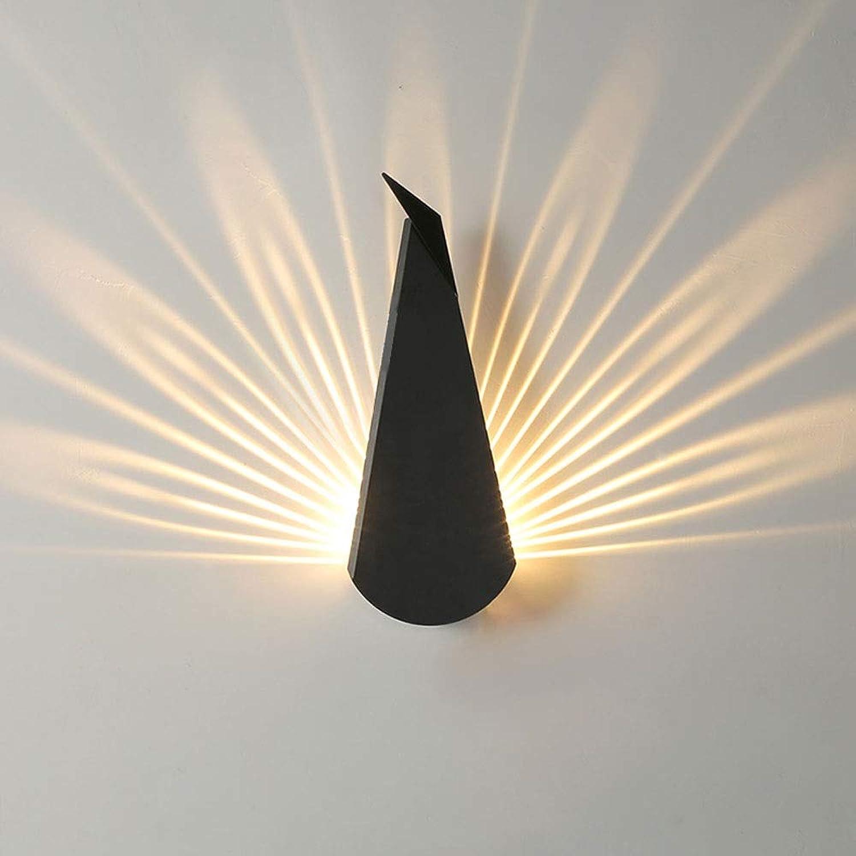 LDDENDP LED Einfache Kreative Pfau Wandlampe Schlafzimmer Nachttischlampe Hotel Technik Gang Treppenlicht Hintergrund Wandleuchte Kreative Licht Schatten Design Multi-Farbe Optional (blau, Ephedra, We