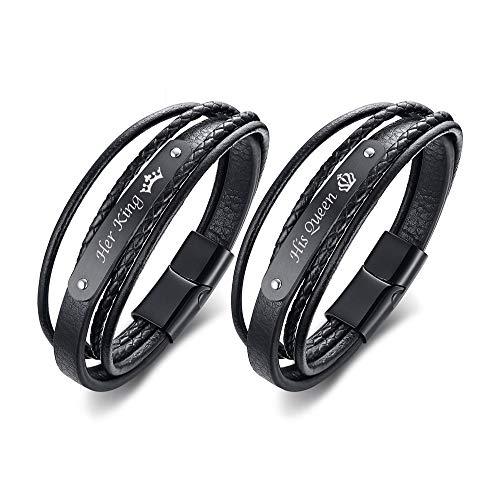 VNOX Handgemachte Geflochtene Schwarz Echtes Leder Armband Magnetische Schnalle Seine Königin & Ihr König Passende Paare Armreif