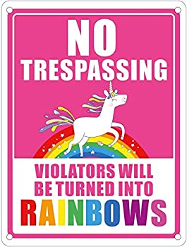 Pudada Unicorn No Trespassing Sign Violators Will Be Turned Into Rainbows Metal Decoration Banner 9x12 inch Funny Birthday Gifts for Kids Teens Girls Room Door Wall Decor