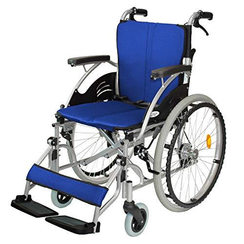 ケアテックジャパン 自走式 アルミ製 折りたたみ 車椅子 ハピネス ブルー CA-10SU
