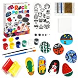 Rock Painting Kit Craft Set - Art Supply for 10 Painting Rocks Hide and Seek, Arts and Crafts Supply for 5-12 Years Old Boys Girls, Art Craft Kits Kids Creativity Gift for Indoor Outdoor Activities