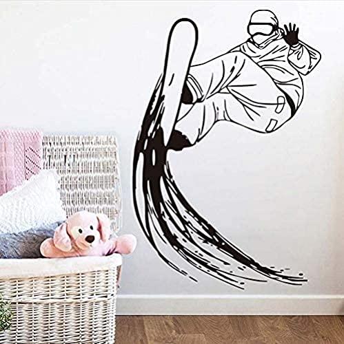 60 x 41 cm etiqueta de la pared de esquí deportes de esquí decoración del hogar vinilo desmontable silueta pared calcomanía habitación de niño snowboard mural