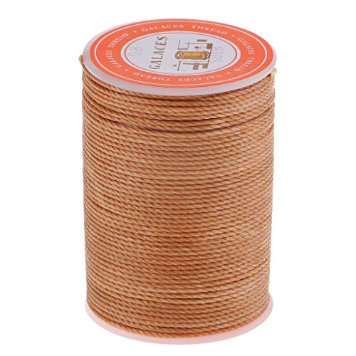 Kloware Ramie Round Natural Waxed Solid Thread Leather Craft Sewing Cord - Light Brown