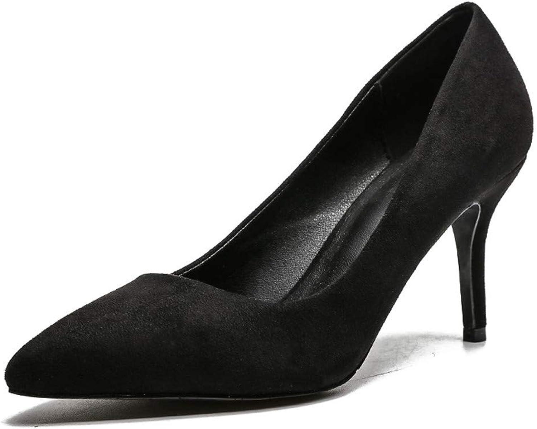 Meiren Pumps Autumn High Heels Pointed Stiletto Shallow Mouth Women's shoes, Black
