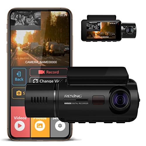 REXING V3 Basic Dual Camera Front and Inside Cabin Infrared Night Vision Full HD 1080p WiFi Car Taxi Dash Cam with Supercapacitor, 2.7
