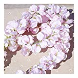 Plant For Decoration 11 PCS Fleur Artificielle Wisteria Vigne 120 cm Simple Fleurs Série DIY Plante Maison Décoration De Mariage for Le Mur De Fond (Color : Light pink)