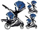 Kids Kargo Duellette 21 BS Twin Double Pushchair Tandem Stroller Buggy with 2 seat Units (Dooglebug Blueberry)