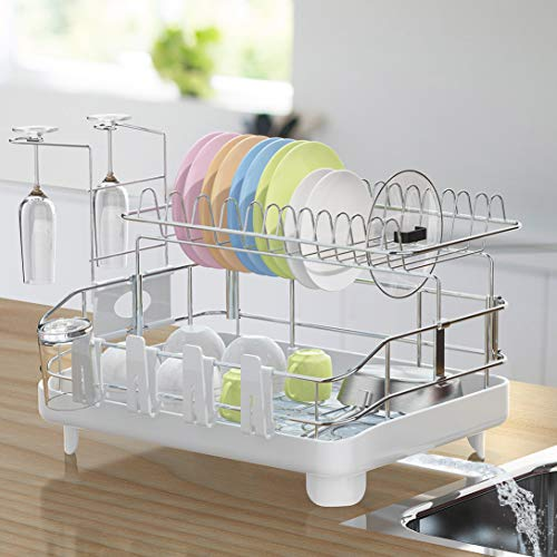 Ohuhu Deluxe 2-Tier Dish Drying Rack with Removable Dish Drainer Tray 360° Swivel Spout, with Anti-Slip Cutlery Tray & Cup Utensil Holder for Kitchen Counter, 27' x 13' x 13'