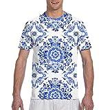 Camisetas de hombreDelft Azul Acuarela Tradicional Holandesa Floral Flores de Azulejos Camisetas de Manga Corta Camiseta con Cuello Redondo