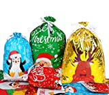STEFORD 30PCS Christmas Drawstring Gift Bags,Lager Size Xmas Gift Wrapping Goodies Bags